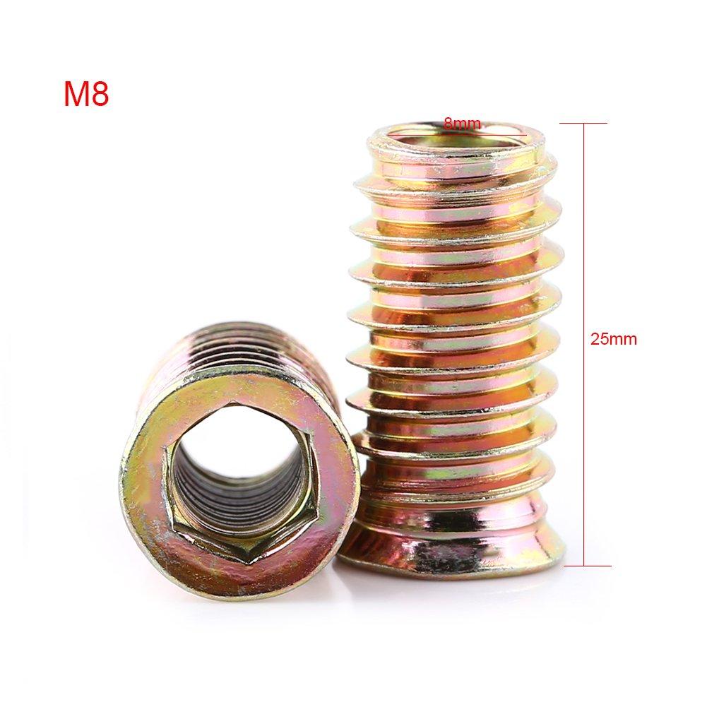 Insertos de Tuerca Tuercas de Inserciones de Acero al Carbono Tuercas de Insertar Hexagonal Roscado para Muebles de Madera M6*13mm