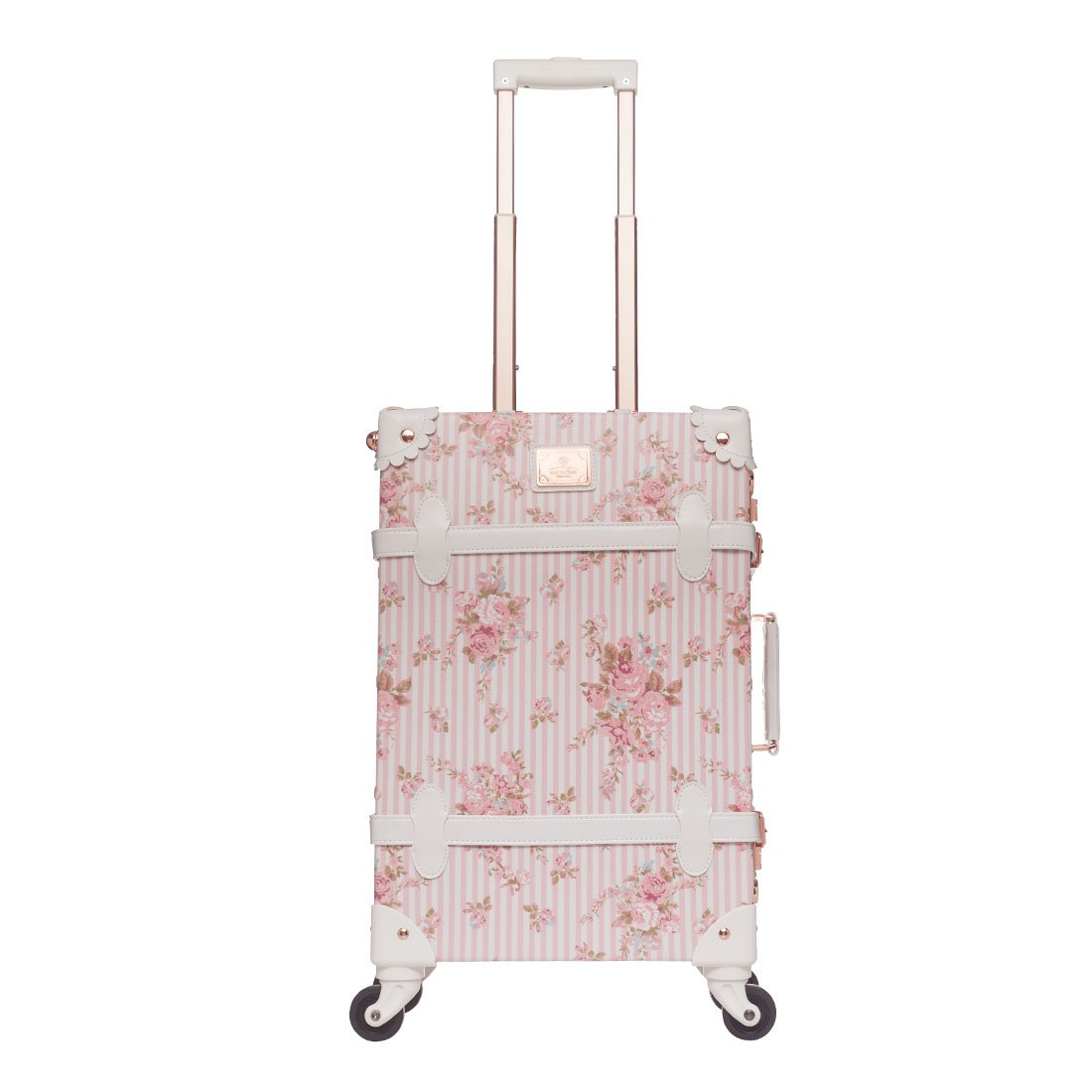 Women Floral Pu Leather Travel Suitcases 20'' - 26'' with Spinner Wheels for Girls (26'', Pink(TSA))