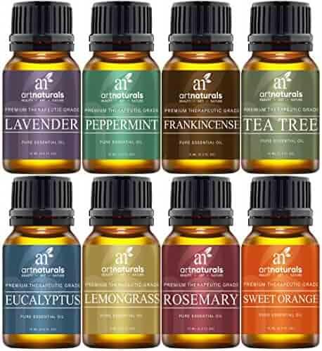 Art Naturals Aromatherapy Top 8 Essential Oil Kit -100% Pure Therapeutic Grade - (Lavender, Tea Tree, Peppermint, Frankincense, Eucalyptus, Sweet Orange, Rosemary & Lemongrass) - 2017 Edition Gift Set