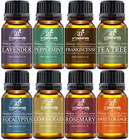 ArtNaturals Therapeutic-Grade Aromatherapy Essential Oil Set - Top 8 Pure of the Highest Quality Oils - Peppermint, Tea Tree, Rosemary, Sweet Orange, Lemongrass, Lavender, Eucalyptus, Frankincense