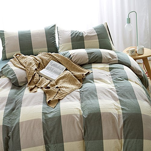 HIGHBUY 100% Natural Washed Cotton Duvet Cover Set Queen Geometric Plaid Pattern Luxury Soft Full Bedding Sets with Zipper Closure 3 Piece Green White Grid Reversible Comforter Cover for Boys (Green Queen Comforter Set)