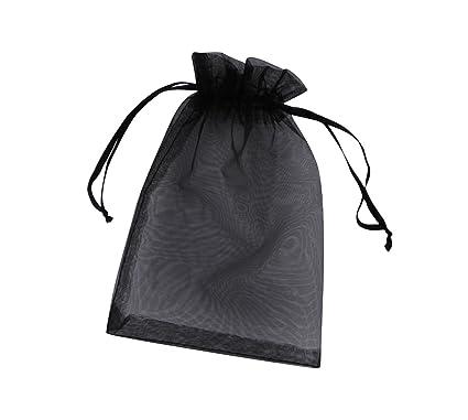 ONW Bolsas de Organza para Envolver Regalo Detalle de Boda Joyas Caramelo Dulces Bolsitas para Regalos ,Negro 100 PCS 15x20 cm