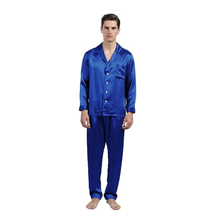 LULUSILK Conjunto de Pijama Hombre Largo de Seda 19 Momme de Solapas Bolsillo de Pecho,