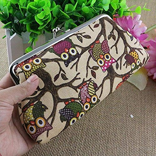 Small Wallet Coin Vintage Hasp Clutch Beige Bags Women Clearance Owl Wallet Handbags Fashion 2018 Pockets Style Noopvan Lovely Purse F1wH8q8x