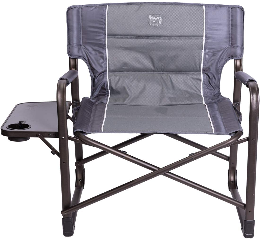 Timber Ridge XXL Directors Chair Oversized Supports 600 lbs, 28 Wide Heavy Duty Folding Camping Chair Fully Padded with Side Table for Outdoor Camp, Patio, Lawn, Garden
