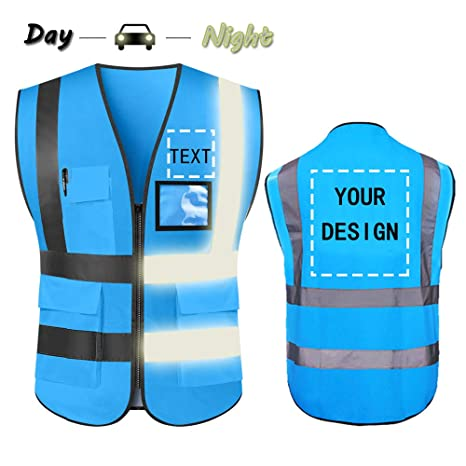 High Visibility Safety Vest Custom Your Logo Protective Workwear 5 Pockets  With Reflective Strips Outdoor Work Vest (Blue (M))