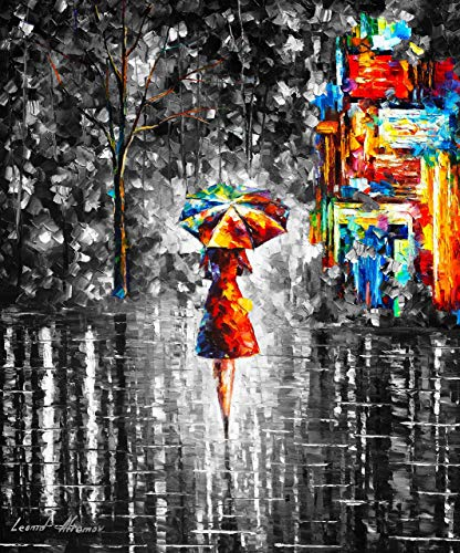 Black and White Hand Painted Oil Painting Lady Umbrella Girl Famous Art Office Living Room