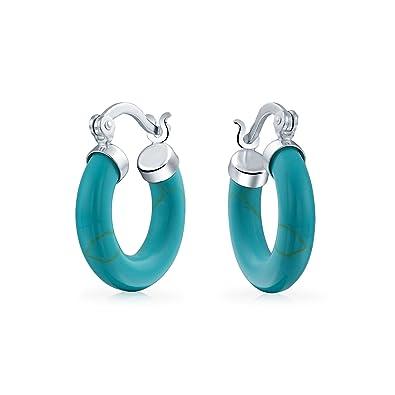 b65945234 Amazon.com: Small Round Tube Hoop Earrings For Women 925 Sterling ...