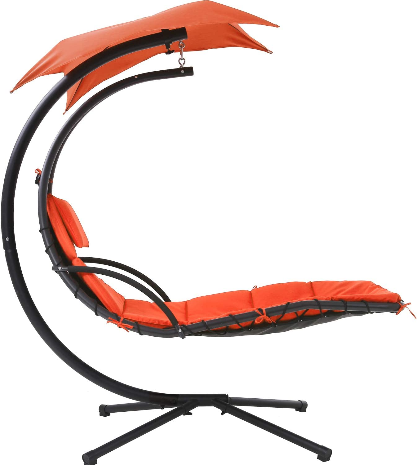 FDW Hanging Chaise Lounger Patio Chair Deck Hammock Yard Chairs Outdoor Furniture Floating Chaise Canopy Swing Arc Stand Air Porch Lounge Chair for Indoor Backyard,Orange Red