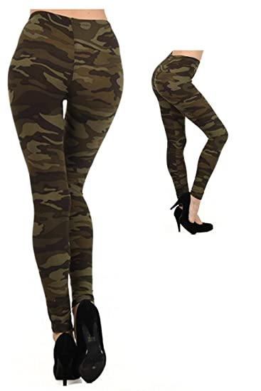 3a56ea3f74a01 Green Camo Army Design - Military Themed - Stretchy Leggings at Amazon  Women's Clothing store: Leggings Pants