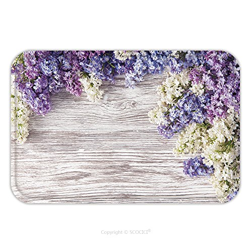 Flannel Microfiber Non-slip Rubber Backing Soft Absorbent Doormat Mat Rug Carpet Lilac Flowers Bouquet On Wooden Plank Background Spring Purple Blooming Bunch Branch Over Wood 262690604 for Indoor/Out
