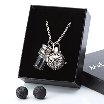 Amazon aromatherapy necklace essential oil diffuser locket aromatherapy necklace essential oil diffuser locket pendant w bottle lava rock gift kit mozeypictures Gallery