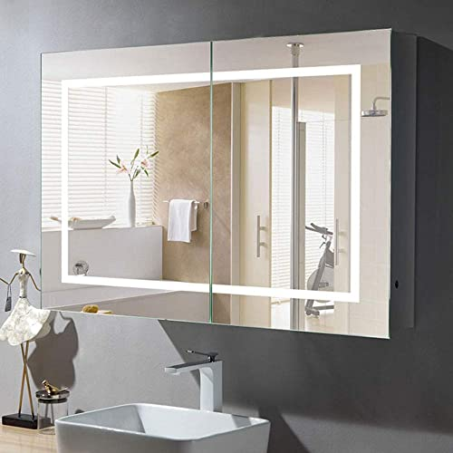 24 x 36 in. Horizontal LED Lighted Mirror Cabinet Wall Mount Illuminated Medicine Cabinet with Infrared Sensor NS165
