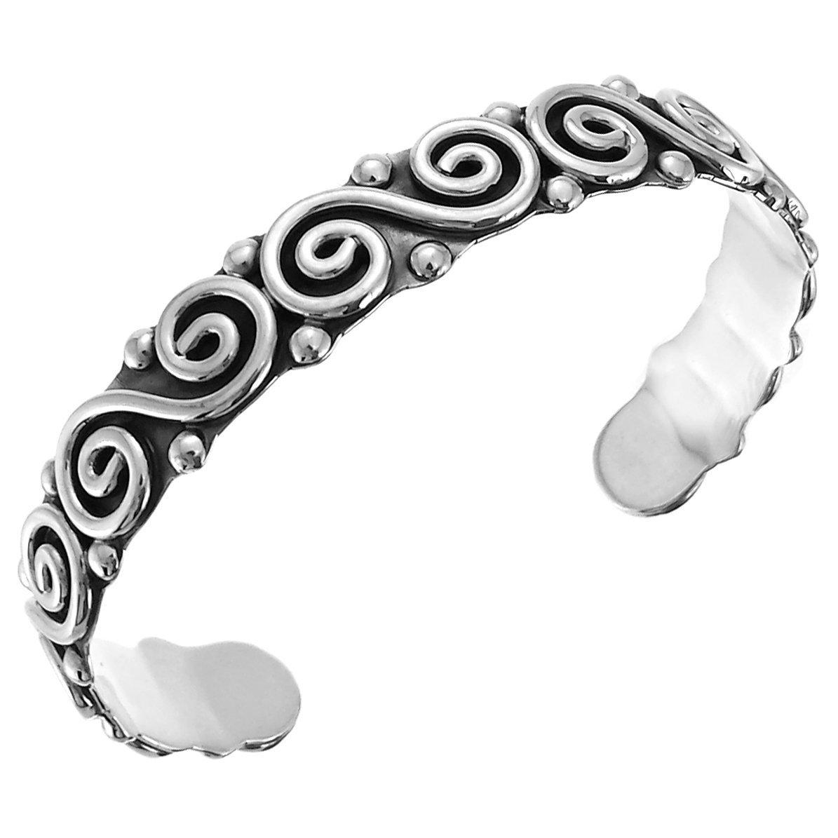 Aleria Designs Sterling Silver Oxidized Beaded Spirals Cuff Bracelet