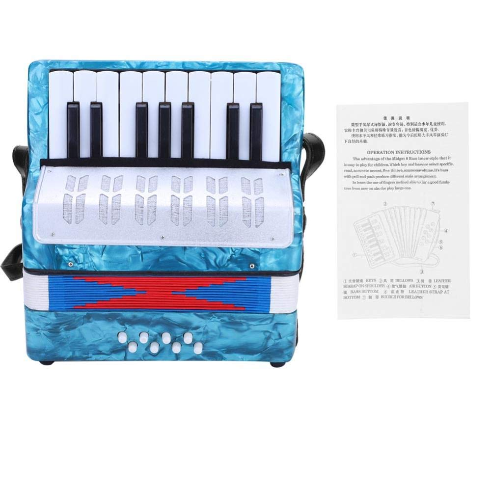 Children Accordion Music Toy 17 Key 8 Bass Accordion Educational Toys Music Instruments for Beginners Students 4 Colors (Light Blue) by Tbest