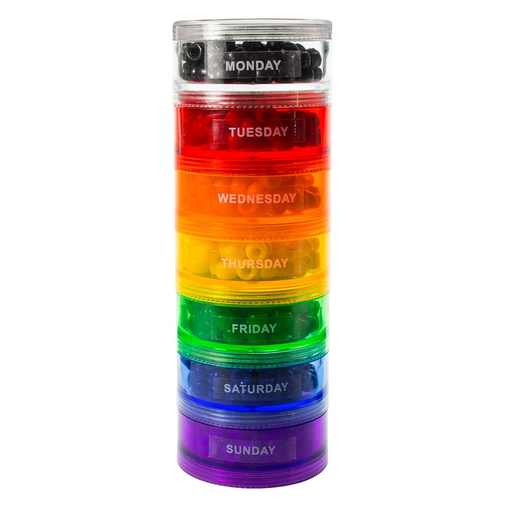 GMS 7 Stack-able Pill Organizers with 2 Lids and 7 Day Adhesive Labels for Organizing Vitamins, Supplements, and Medications (Large Rainbow, 7 7/8 Inches in Height 2 3/4 Inches in Diameter)