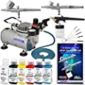 3 Airbrush Master Airbrush Airbrushing System Kit with a Testors Aztek 6 Primary Colors Acrylic Paint Set, G22, G25, E91 Gravity & Siphon Feed Airbrushes, Air Compressor, Hobby, How-To-Airbrush Guide