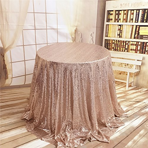 TRLYC 132-Inch Round Wedding Sequin Tablecloth for Wedding Happy New Year 6FT Table Cloth--Rose Gold (6' Round China)