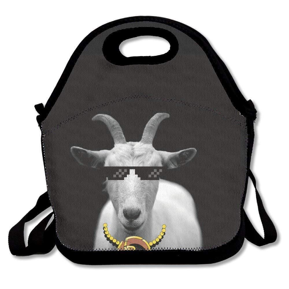 Dozili - Divertidas bocinas de animales de cabra, de neopreno, grandes, gruesas, para almuerzo, bolsa térmica y cálida, con correa para el hombro, para ...