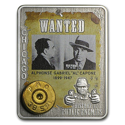 2015 Special Mint Al Capone silver coin antique finish 1000 Francs embed 38S PMC rim 1 OZ Perfect Uncirculated ()