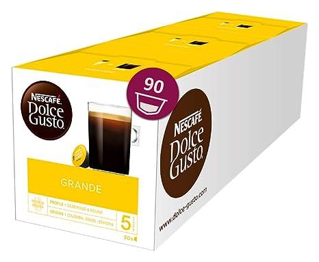 Nescafé Dolce Gusto Caffe Crema Grande, XXL-Vorratsbox, 90 Kaffeekapseln, 100% Arabica Bohnen, feinste Crema und kräftiges Ar