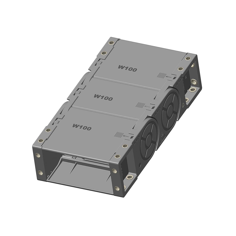 JFLO 1M, Energiekette 35x100mm R100, mit Deckel/geschlossen, beidseitig zu ö ffnen - Schleppkette - Kabelfü hrung - Energiefü hrungskette und 2 x Anschlusselemente (Mitnehmer und Festpunkt) (F35100FW)