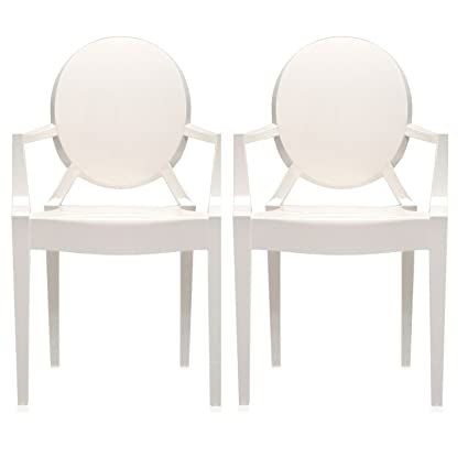 amazon com 2xhome set of two 2 white modern ghost chair