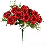 Luyue 造花 ローズバンチ 12花の頭 手作り 薔薇花束 ブーケ インテリア フラワーアレンジ 結婚式 お祝い 飾り ギフトなどにお勧め (赤)