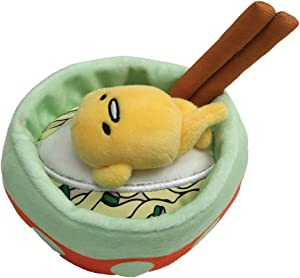 GUND Sanrio Gudetama Lazy Egg Noodle Bowl with Chopsticks Stuffed Animal Plush, 4.5