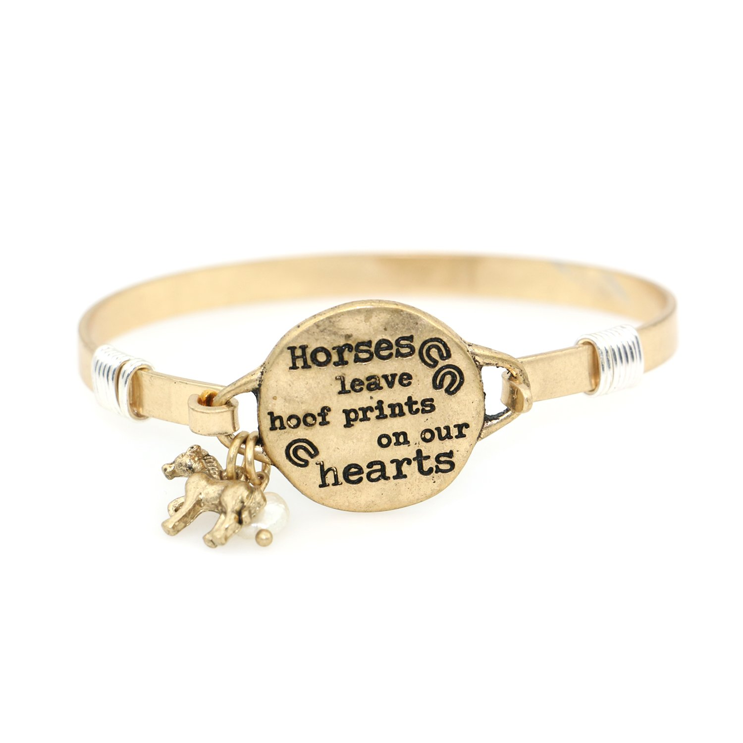 """Horses Leave Hoofprints on Our Hearts"" Handmade Beautiful Bangle Bracelet with Wire Design and Horse Charm and Bead"