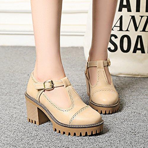 T Shine Women's Mary Platform High apricot Show Shoes Janes Heel Buckles SEfTqSdw