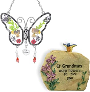 BANBERRY DESIGNS Grandma Gifts - Grandma Message Rock and Butterfly Suncatcher Set - Butterfly Has Hanging Charm with Grandma Engraved on It - Grandma Gift - Grandma to Be - Mother-in-Law