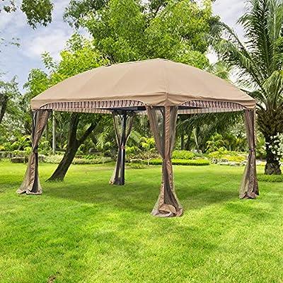 Sunjoy A111011800 Original Replacement Canopy for Curve Gazebo (10x13 FT) L-GZ702PCO-A Sold at Menards, Khaki : Garden & Outdoor