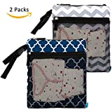 NiceEbag 2 pcs Baby Wet and Dry Cloth Diaper Bags Travel...