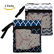 NiceEbag 2 pcs Baby Wet and Dry Cloth Diaper Bags Travel Nappy Organizer Bag Waterproof Reusable with Two Zippered Pockets(Blue Lantern and Gray Chevron)