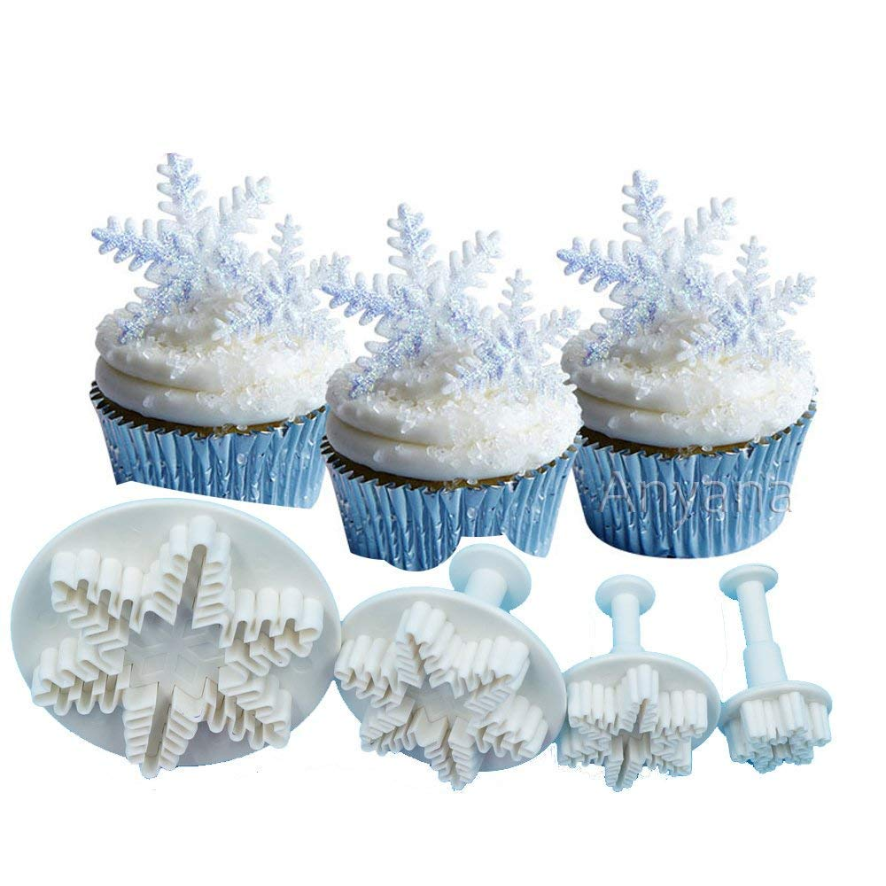 AmaranTeen - Snowflake Biscuit Cake Mold Plunger Cutter ABS Baking Cookie 3s Supply MA206