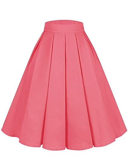 DRESSTELLS - Falda de algodón para Mujer, diseño de líneas A Coral ...