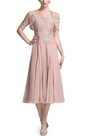 3cac2ac436f CJMY Women s Tea Length Mother of The Bride Dress with Lace Jacket 2019  Short Formal Evening