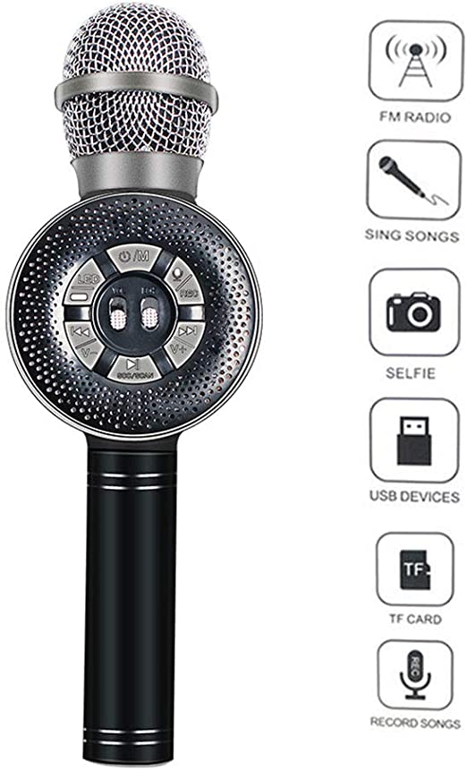 Lvreby Micrófono Colorido Luces LED teléfono móvil Karaoke micrófono inalámbrico Bluetooth Recording Studio Conferencia Mic,Black: Amazon.es: Hogar