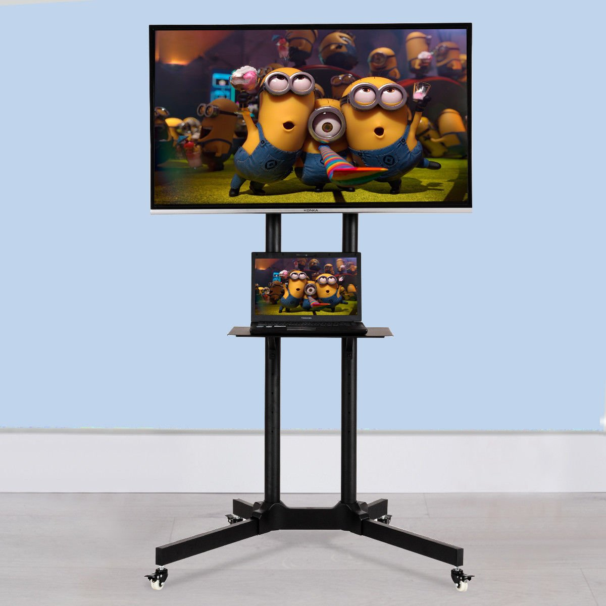 Tangkula TV Cart Mobile Plasma LCD LED Flat Screen Panel Fits 30''to 65'' TV Stand Mount with Shelf