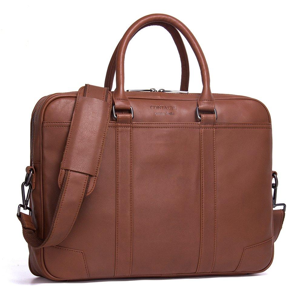 Contacts Genuine Leather Mens Messenger Shoulder Bag 14'' 15'' Laptop Briefcase (Brown)