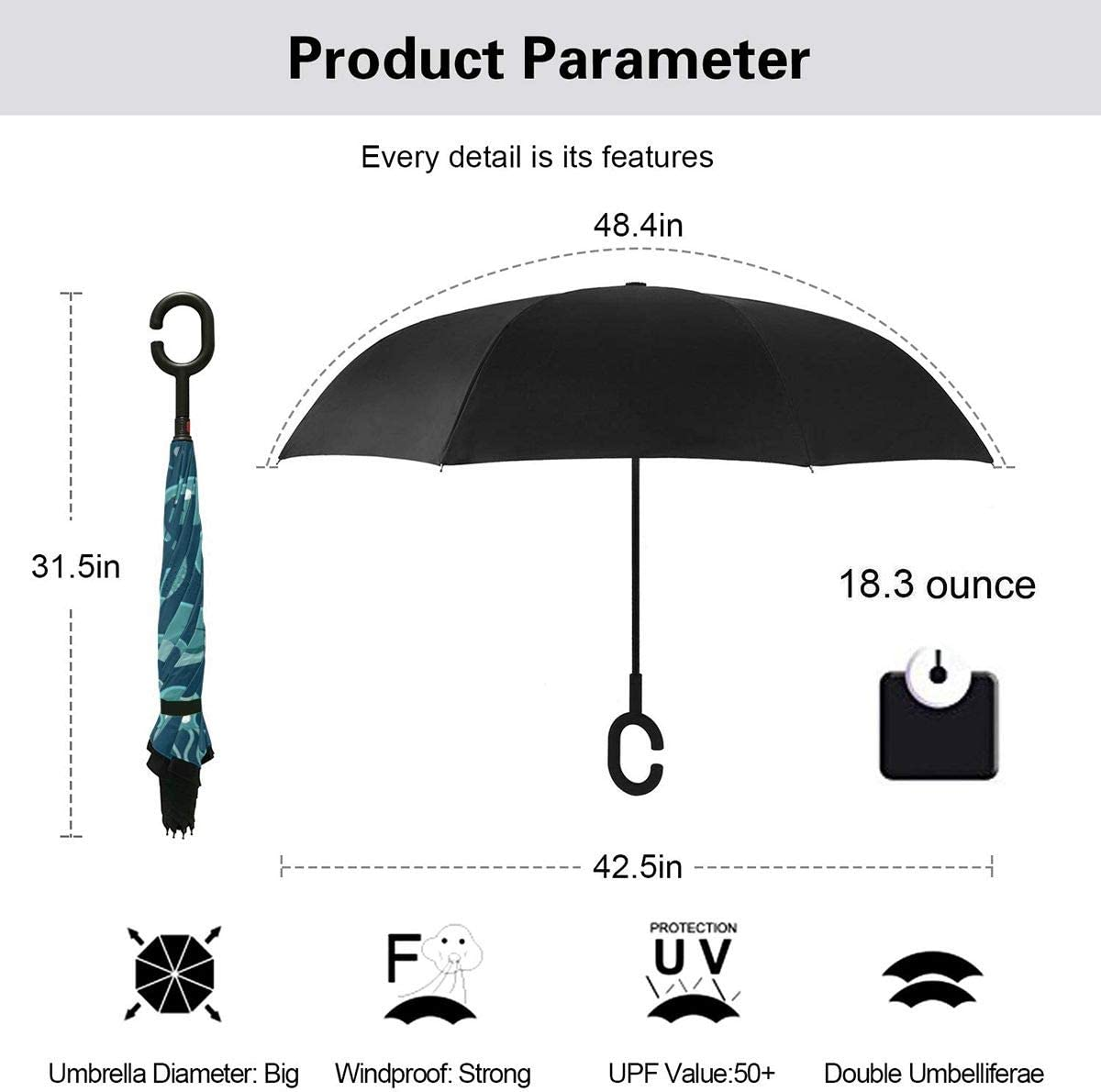 Sea Life Seamless Pattern With Fishes And Marine Life Windproof Inverted Umbrella Double Layer UV Protection Folding Reverse Umbrella For Car Rain Outdoor Self Stand Upside Down With C-Shaped Handle