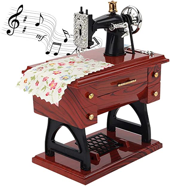 Mioloe Caja de Música de La Máquina de Coser Mini Reloj Retro ...