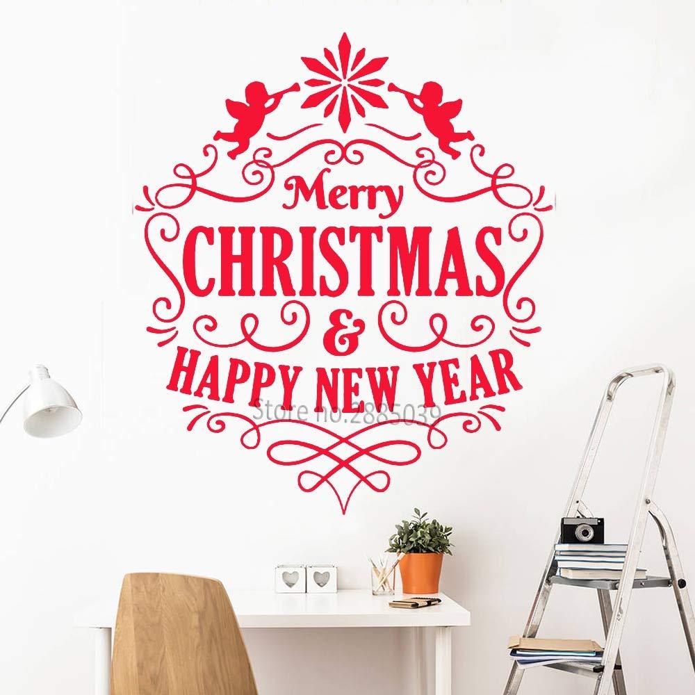 Creativo Festivo Etiqueta de la Pared Feliz Navidad y Feliz Año ...