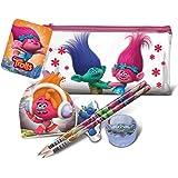 Official Licensed Trolls 5 Piece Stationery Set 2 Pencils Eraser Sharpener & Note Pad & Pencil Case by Trolls