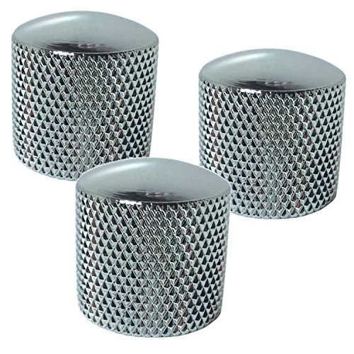 (Chrome Dome Knobs - Polished Metal For Bass or Guitar Set of 3)