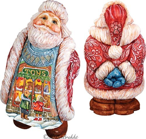 G Debrekht Illustrated Santa With Toy Scene