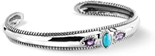 product image for Carolyn Pollack Sterling Silver Sleeping Beauty Turquoise and Amethyst or Turquoise and Topaz 3-Stone Cuff Bracelet Size S, M or L