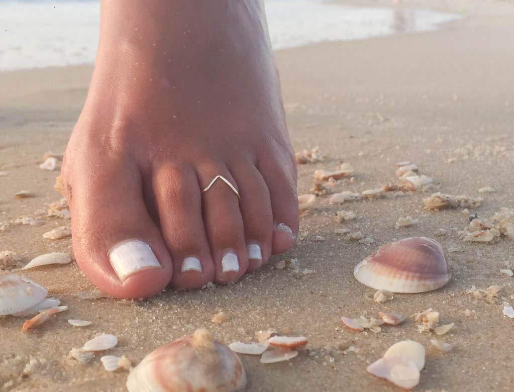 Toe Ring Silver Thin Delicate Adjustable Chevron Foot Jewelry Beach Handmade barefoot wear