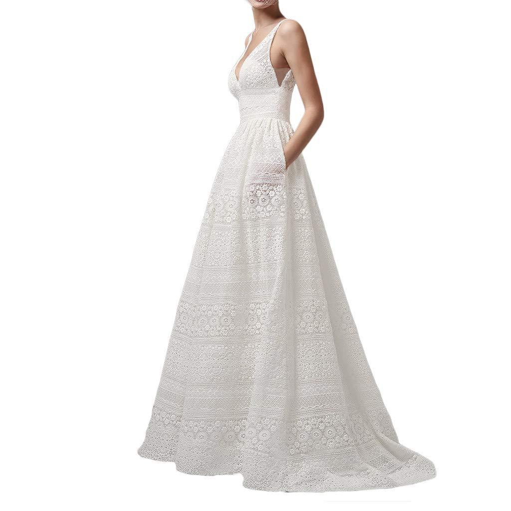 Sharemen Women's Summer V-Neck Sleeveless Openwork Evening Dress High Waist Sexy Pocket Dress/Wedding/Bridesmaid Dress(White,2XL)